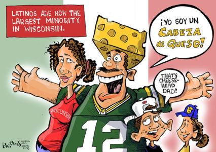 Caricatura de Phil Hands publicada en el en el Wisconsin State Journal el 28 de junio de 2014,  cuando la comunidad latina se convirtió en la minoría más numerosa del estado.