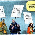"""La interesante caricatura de Jack Ohman: """"All lives matter"""" publicada como Opinión/Editorial en el periódico local californiano """"The Sacramento Bee"""" ha sido considerada por muchos como la que mejor expresa los sentimientos de estos días en Estados Unidos."""