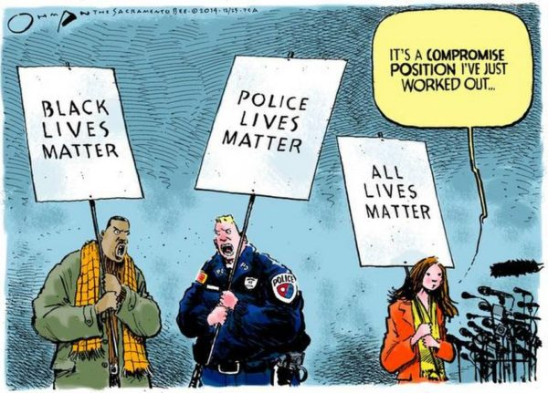 "La interesante caricatura de Jack Ohman: ""All lives matter"" publicada como Opinión/Editorial en el periódico local californiano ""The Sacramento Bee"" ha sido considerada por muchos como la que mejor expresa los sentimientos de estos días en Estados Unidos."