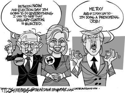 """Esta caricatura de David Fitzsimmons, """"Bernie for Hillary"""" salió publicada en The Arizona Star el 7 de julio y refleja la sensación electoral de esta semana."""