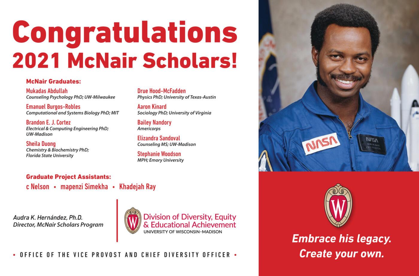 Los Graduados del prestigioso programa McNair 2021, muchas felicidades!