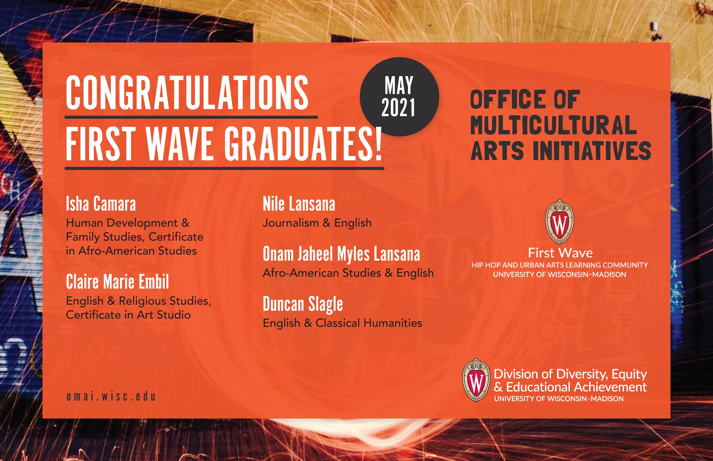 Felicitaiones a los graduados del programa First Wave - Oficina multicultural de iniciativas del arte